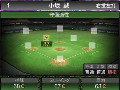 プロスピA小坂誠2021シリーズ1TSの守備評価