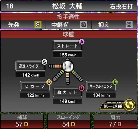 プロスピA松坂大輔2021シリーズ1TSの第一球種のステータス