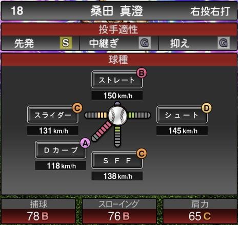 プロスピA桑田真澄2021シリーズ1TSの第一球種のステータス