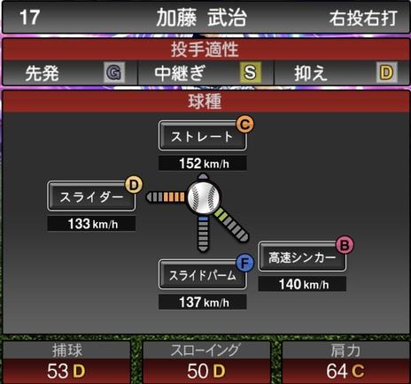 プロスピA加藤武治2021シリーズ1TSの第一球種のステータス
