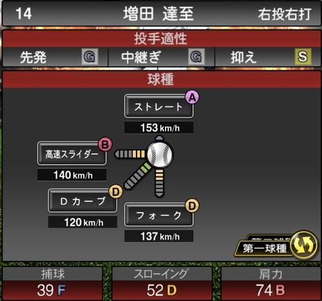 プロスピA増田達至2021シリーズ1の第一球種のステータス