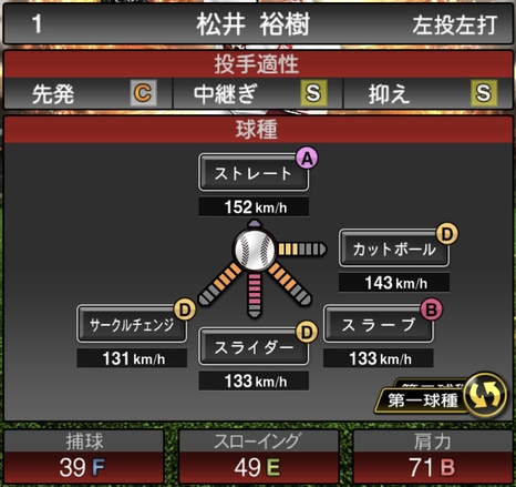 プロスピA松井裕樹2021シリーズ1の第一球種のステータス