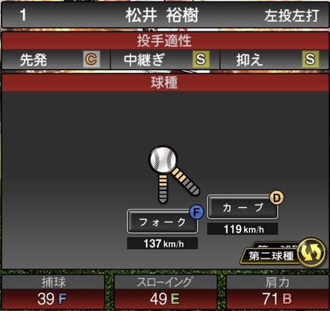 プロスピA松井裕樹2021シリーズ1の第二球種のステータス