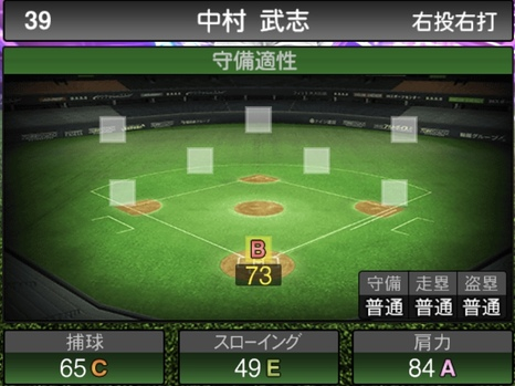 プロスピA中村武志2021シリーズ1TSの守備評価