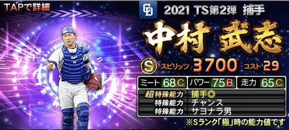 プロスピA中村武志2021TS第2弾の評価