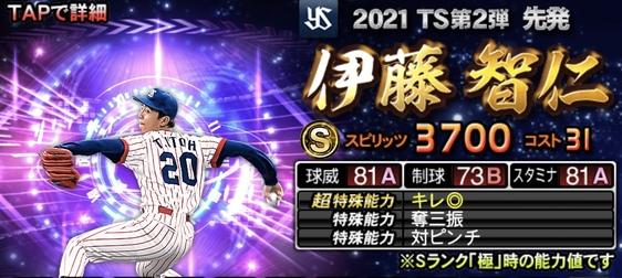 プロスピA伊藤智仁2021TS第2弾の評価