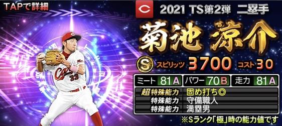 プロスピA菊池涼介2021TS第2弾の評価