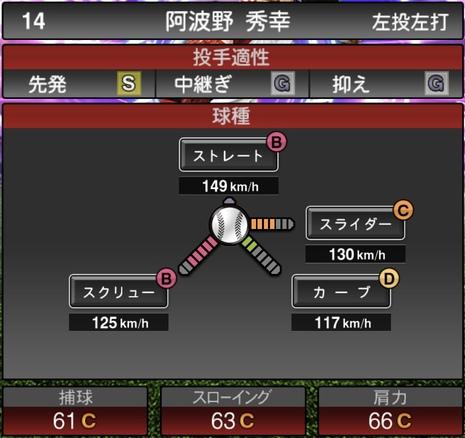 プロスピA阿波野秀幸2021シリーズ1TSの第一球種のステータス