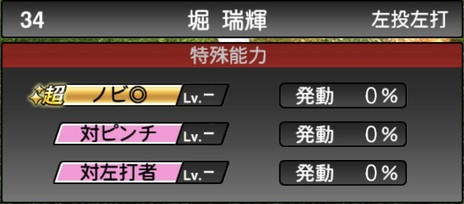 プロスピA堀瑞輝2021シリーズ1の特殊能力