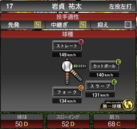 プロスピA岩貞祐太2021シリーズ1の第一球種のステータス