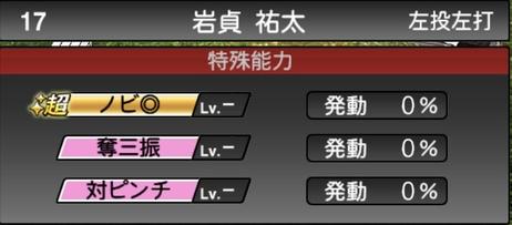 プロスピA岩貞祐太2021シリーズ1の特殊能力