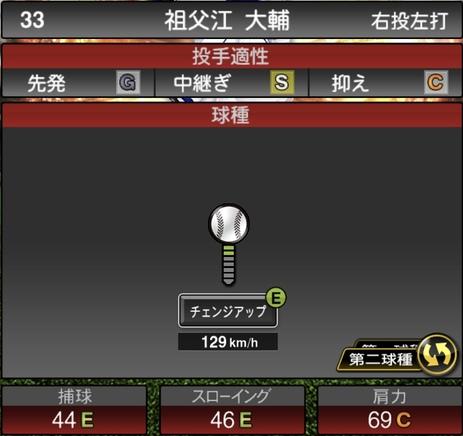 プロスピA祖父江大輔2021シリーズ1の第二球種のステータス
