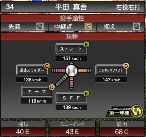 プロスピA平田真吾2021シリーズ1の第一球種のステータス