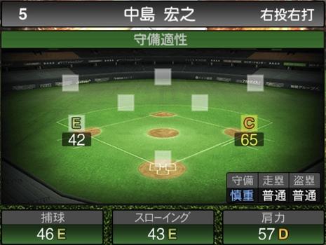 プロスピA中島宏之2021シリーズ1の守備評価