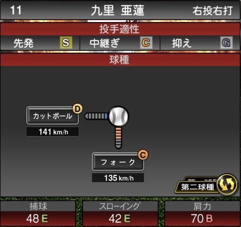 プロスピA九里亜蓮2021シリーズ1の第二球種のステータス