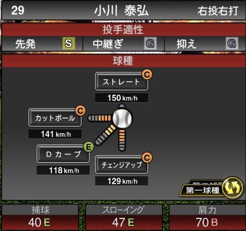 プロスピA小川泰弘2021シリーズ1の第一球種のステータス
