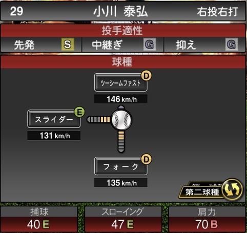 プロスピA小川泰弘2021シリーズ1の第二球種のステータス