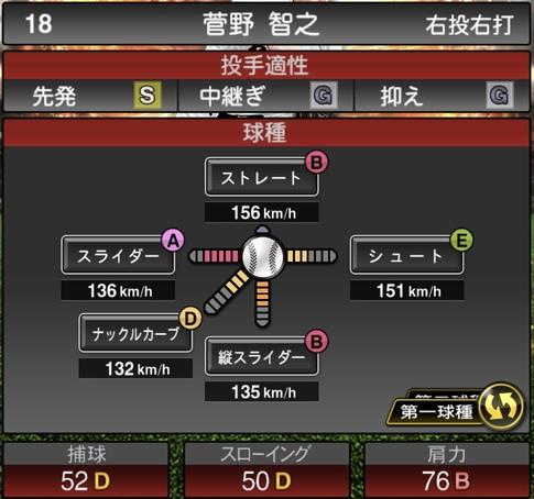 プロスピA菅野智之2021シリーズ1の第一球種のステータス