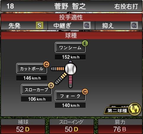 プロスピA菅野智之2021シリーズ1の第二球種のステータス