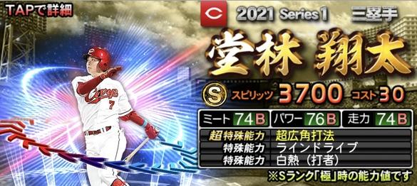 プロスピA広島堂林翔太2021シリーズ1エキサイティングプレイヤー(EX)第1弾の評価