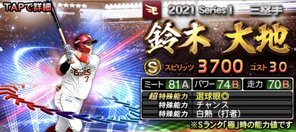 プロスピA楽天鈴木大地2021シリーズ1エキサイティングプレイヤー(EX)第2弾の評価