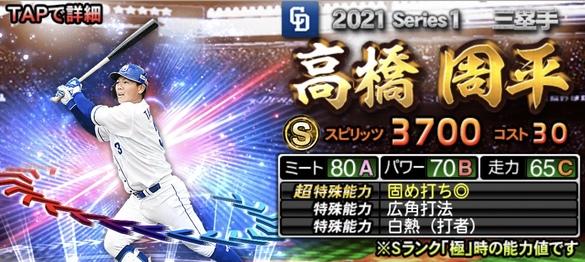 プロスピA中日高橋周平2021シリーズ1エキサイティングプレイヤー(EX)第2弾の評価