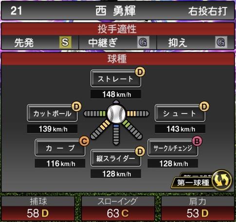 プロスピA西勇輝2021シリーズ1TSの第一球種のステータス
