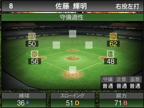 プロスピA佐藤輝明2021シリーズ1の守備評価