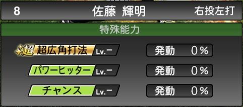 プロスピA佐藤輝明2021シリーズ1の特殊能力