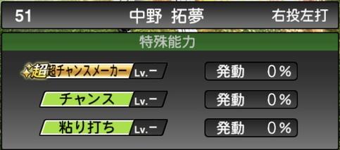 プロスピA中野拓夢2021シリーズ1の特殊能力