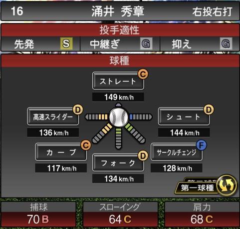 プロスピA涌井秀章2021シリーズ1石橋貴明セレクションの第一球種のステータス