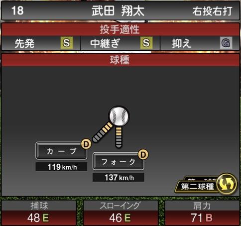 プロスピA武田翔太2021シリーズ1の第二球種のステータス