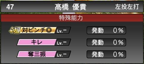 プロスピA髙橋優貴2021シリーズ1の特殊能力