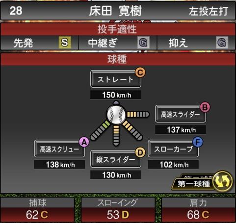 プロスピA床田寛樹2021シリーズ1の第一球種のステータス