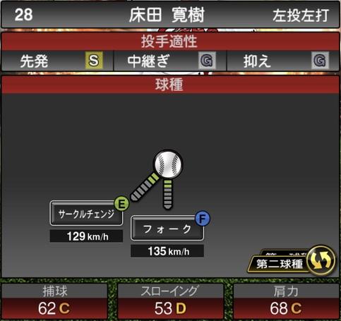 プロスピA床田寛樹2021シリーズ1の第二球種のステータス