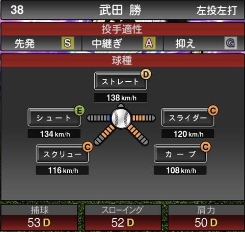 プロスピA武田勝2021シリーズ1TSの第一球種のステータス