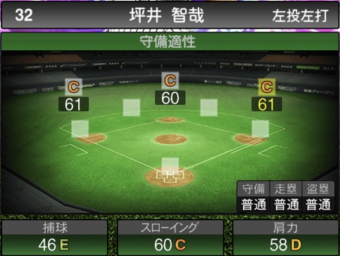 プロスピA坪井智哉2021シリーズ1TSの守備評価