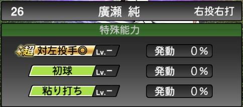 プロスピA廣瀬純2021シリーズ1TSの特殊能力