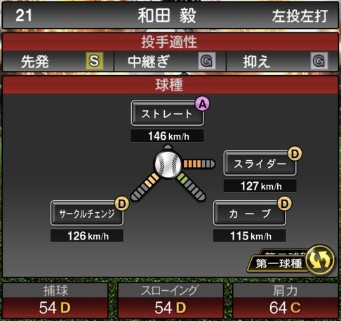 プロスピA和田毅2021シリーズ1の第一球種のステータス