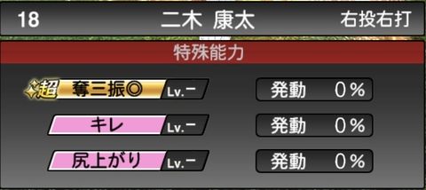 プロスピA二木康太2021シリーズ1の特殊能力