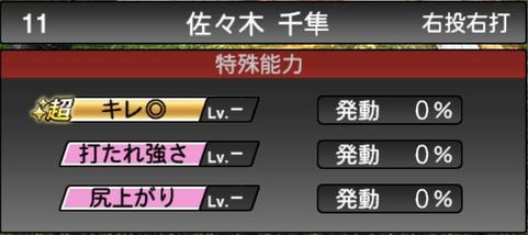 プロスピA佐々木千隼2021シリーズ1の特殊能力