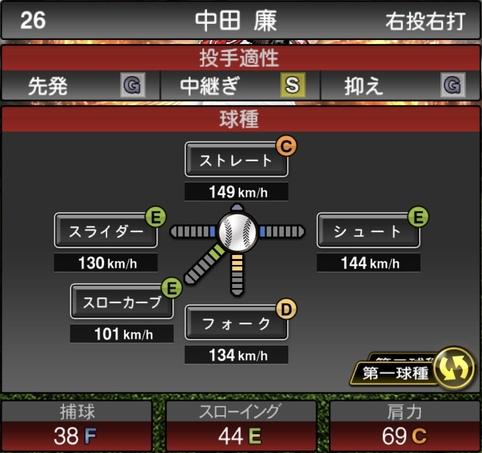 プロスピA中田廉2021シリーズ1の第一球種のステータス