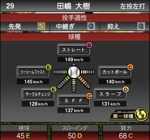 プロスピA田嶋大樹2021シリーズ2の第一球種のステータス
