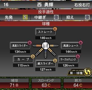 プロスピA西勇輝2021シリーズ2の第一球種のステータス
