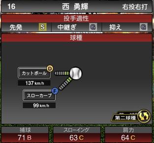 プロスピA西勇輝2021シリーズ2の第二球種のステータス