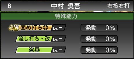 プロスピA中村奨吾2021シリーズ2の特殊能力