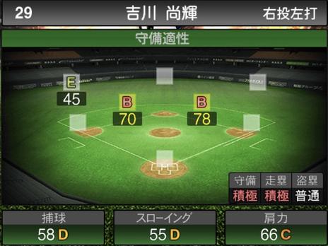 プロスピA吉川尚輝2021シリーズ2の守備評価