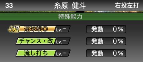 プロスピA糸原健斗2021シリーズ2の特殊能力