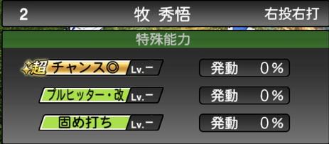 プロスピA牧秀悟2021シリーズ2の特殊能力