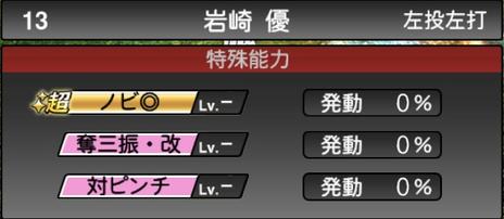 プロスピA岩崎優2021シリーズ2の特殊能力